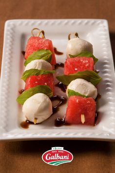 Warmer days require refreshing apps. Our Fresh Mozzarella Watermelon Skewers answer this call, coupling the sweet taste of summer with creamy bites of Galbani Fresh Mozzarella Ciliegine. 🍉 Fresh Mozzarella Pizza, Mozzarella Salad, Skewer Recipes, Appetizer Recipes, Appetizer Ideas, National Cheese Day, Skewers, Kabobs, Pesto Salad