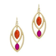 Diamonds are a girls best friend in these Tia earrings featuring open gold diamond shapes with dangling faceted orange and hot pink diamond shaped stones.  Love this! Found it on the bohemian trunk