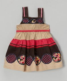Love this Khaki Stripe Dress - Infant, Toddler & Girls on #zulily! #zulilyfinds