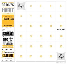 Use this printable calendar to reach your goals in 30 days!