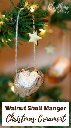 This DIY rustic homemade walnut shell manger Christmas ornament can be made by both kids and adults. Handmade ornaments like this kid-made baby Jesus in the manger are perfect for the Christmas tree. You can also use this nature craft as a part of a nativity scene. These make beautiful decorations and are a great keepsake gift idea! Click through for the easy to follow tutorial!