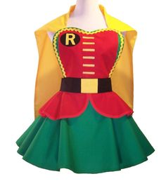 Classic Robin Costume Apron , Batman Sidekick Cosplay Apron, Superhero Cosplay Apron