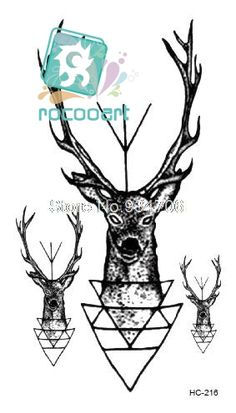 Rocooart HC-216 Body Art beauty Deer Head Men's Shoulder Finger Water Transfer Temporary Fast Flash Fake Tattoos Sticker Taty #Affiliate