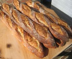 Traditional Baguette, by Samuel Fromartz French Baguette Recipe, Baguette Bread, Sourdough Baguette Recipe, Savoury Baking, Bread Baking, Bread Recipes, Cooking Recipes, Sweet Dough, Baguette