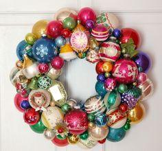 Image of German Merry Christmas Vintage Ornament Wreath - diameter Christmas Wreaths To Make, Vintage Christmas Ornaments, Vintage Holiday, All Things Christmas, Holiday Fun, Christmas Holidays, Christmas Decorations, Holiday Ideas, Retro Christmas