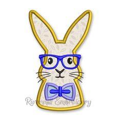 Boy Bunny Rabbit With Glasses Applique Machine Embroidery Design Applique Designs, Machine Embroidery Designs, Bunny Rabbit, Appliques, Disney Characters, Fictional Characters, Fonts, Glasses, Art