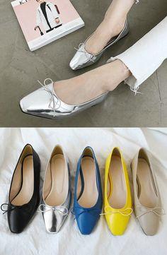 NANING9 - Beribboned Square-Toe Ballerina Flats #koreanfashion #shoes #flats
