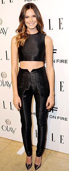 Odette Annable in a chic crop top and high waisted pants by Paper London at Elle's Annual Women in Television Celebration