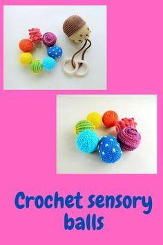 Montessori sensory balls / Waldorf crochet toy / Baby development toys / Toddler activity crochet rattle and wooden teether ring Learning Games For Kids, Learning Colors, Crochet Ball, Crochet Toys, Montessori Baby Toys, Montessori Bedroom, Organic Baby Toys, Rainbow Crochet, Baby Sensory
