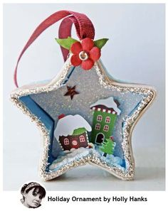 Holiday Ornament- use the plain paper mache boxes from the craft store- just remove the lid- so cute!- RRM