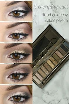 5 Easy Urban Decay Naked Palette Looks for Everyday Using Two Brushes on Brighte. # Make Up Urban Decay Makeup, Maquillage Urban Decay, Urban Decay Palette, Naked Palette, Urban Decay Smoky, Naked2 Palette Looks, Beauty Hacks For Teens, Beauty Make-up, Zoella Beauty