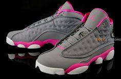 Air Jordan XIII (13) Fuschia and Cool Grey Jordan Xiii, Jordan 13, Pink Grey, Air Jordans, Pairs, Sneakers, Attitude, How To Wear, Shoes
