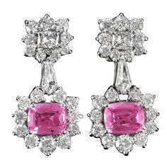 Exquisite Pink Sapphire and Diamond Earrings Pink Diamond Jewelry, Sapphire And Diamond Earrings, Pink Jewelry, Sapphire Jewelry, Gems Jewelry, Gemstone Jewelry, Men's Jewellery, Designer Jewellery, Jewellery Designs