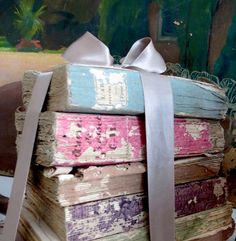 Old BOOKS tied with satin ribbon