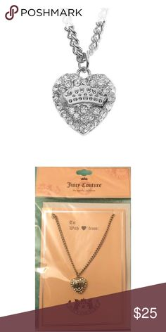 "JUICY COUTURE Silver Crystal Heart Necklace NWT JUICY COUTURE Silver tone crystal heart pendant necklace on pink Juicy Couture Gift card w/envelope will be a perfect gift for you or someone special!  *18"" length w/3"" extender *lobster claw clasp *Pendant 5/8"" x 5/8"" *Bundle Discounts * No Trades * Smoke free Juicy Couture Jewelry Necklaces"