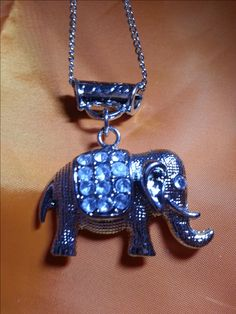 necklace silvertone with elephant charm by SkisterCraft on Etsy