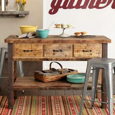 EDISON FACTORY KITCHEN ISLAND - Dining Tables - Furniture - Furniture & Decor   Robert Redford's Sundance Catalog