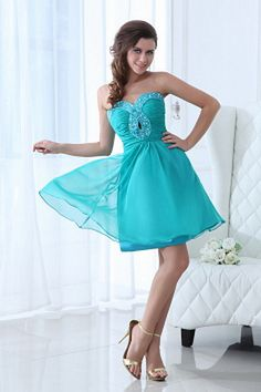 Buy aqua blue sweetheart beaded dama dresses with knee length from dama dresses for quinceanera collection, sweetheart neckline short in teal color,cheap knee length chiffon dress with zipper back and for sweet 16 quinceanera wedding party . Cheap Homecoming Dresses, Cheap Wedding Dress, Wedding Party Dresses, Bridal Dresses, Bridesmaid Dresses, Dress Prom, Graduation Dresses, Prom Gowns, Graduation Ideas