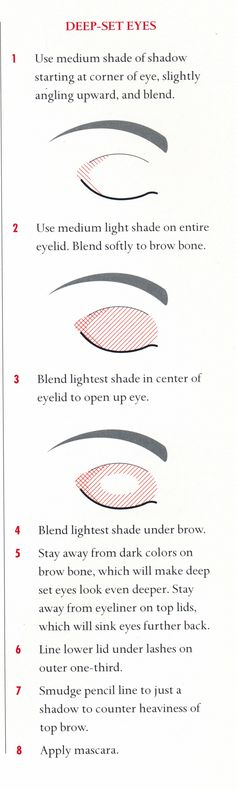 Pinterest:@duquesasheenz  Eye make up for deep set eyes- this is really informative! Just follow the steps, be patient and practice