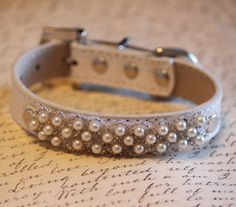 Pearl beaded dog Collar- Leather dog collar with Pearls, Handmade Dog Collar, Pet wedding accessories