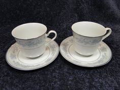"Mikasa Dresden Rose Footed Tea Coffee Cup Mug Saucer Set L9009 8 3/8"" TWO #Mikasa"