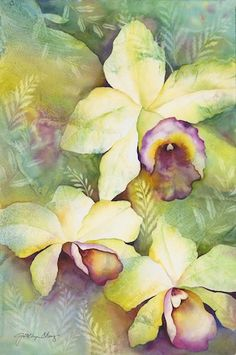 By Jocelyn Cheng Art And Illustration, Art Floral, Watercolor Flowers, Watercolor Paintings, Watercolours, Fleurs Diy, Hawaiian Art, Art Pictures, Photos