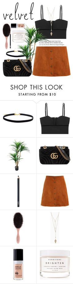 """""""Summer to Fall Velvet"""" by sweet-fashionista ❤ liked on Polyvore featuring Alexander McQueen, Gucci, NARS Cosmetics, MAKE UP FOR EVER, Herbivore and contest"""
