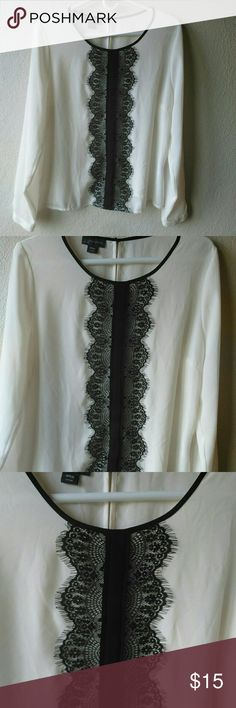 """Covington Long Sleeve Dressy Top Size Large Petite.  Chest is 22"""".  Length is 24"""".  Measurements are approximate and in the flat position.  Top is 100% Polyester.  Lace is 100% Nylon. Covington Tops"""