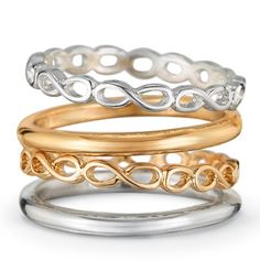 Four piece ring set in silvertone and goldtone. There is a solid band and an open twist design band in each set. Regularly $16.99, buy Avon Jewelry online at http://eseagren.avonrepresentative.com