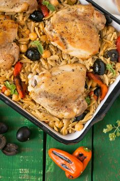 This One Pot Mediterranean Chicken with Black Olives and Orzo is a healthy, quick and delicious meal that the whole family will love.