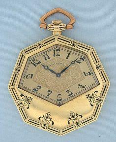 Touchon Swiss 18K green gold and enamel Art Nouveau antique pocket watch circa 1925.