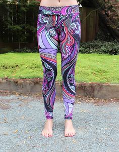 A whimsical and psychedelic print! Featuring hues of purples, pinks and corals, it's a beautiful and versatile print that can be worn in and out of the yoga studio! Always lightweight and comfortable to wear. Nylon/spandex fabric Quick to dry and will not retain smell Extra soft and super light weight 4-way stretch fabric for ultimate flexibility and comfort Comfortable elastic waist, no muffin top! Hand wash and hang dry, do not bleach Can also be worn as stylish leggings outside of yoga