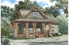 1374 sq. ft., 3 bedroom, 2 bath, fireplace, open living spaces, 2 porches, outdoor storage off the back porch, cute exterior
