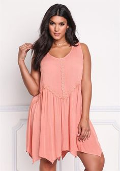 Plus Size Clothing | Plus Size Crepe Crochet Pointed Shift Dress | Debshops