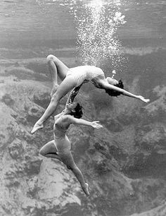 Archival photo of underwater acrobatic ballet at Weeki Wachee Springs