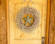 Summer+Wreath-LARGE+Star+Wreath-SILVER+%26+ANTIQUE+White+Barn+Star+Door+Wreath-Wedding+Gift-Large+Wreath-Texas+Star+Decor-Custom+Made+Gifts White Barn, Black Barn, Texas Star Decor, Primitive Country Homes, Custom Made Gift, Summer Door Wreaths, White Wreath, Berry Wreath, Star Decorations