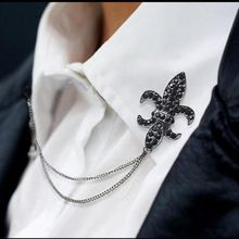 Crystal Chain Tassels Suit Brooch Lapel Pin Neck Collar Tip Shirt Mens Accessories Black Charm Jewelry HOT Drop Ship(China (Mainland))