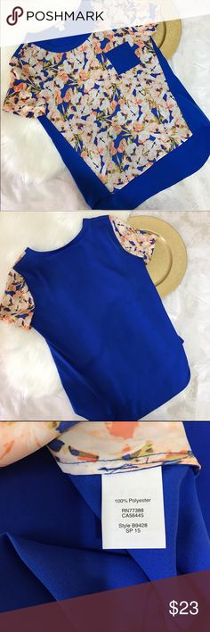 """J.Crew Factory Printed Pocket Shirt 100% poly printed floral pocket blouse from j.crew factory spring collection. EUC. Measures approx 19"""" pit to pit and 25"""" long front 27"""" long back. Floral is a peachy pink color. So cute and fun! J. Crew Factory Tops Blouses"""