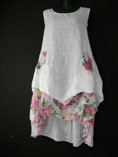 ITALIAN WHITE LINEN SUMMER DRESS, BRAND NEW SIZE ONE SIZE FITS 14 16 18 | eBay