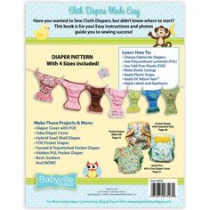 Cloth Diapers Made Easy Pattern and Instruction Book | Babyville Boutique™