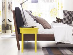 STOCKHOLM nightstand in yellow-Wake up with color on your side!