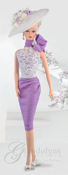 Chic spring fashion in lavender and lace for your 12 dolls.  Couture dress has gathered lace halter neckline with lavender underlay, ruched