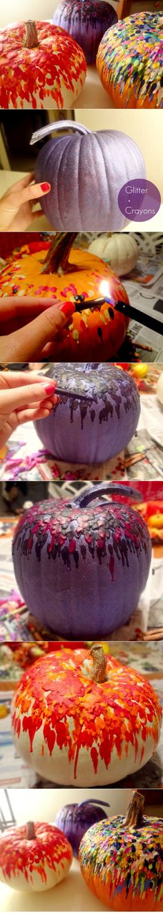 Crayon bedazzled pumpkins... [great way to re-purpose all those broken and mismatched crayons]