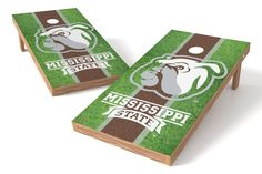 Mississippi State Bulldogs Cornhole Board Set - Field (w/Bluetooth Speakers)