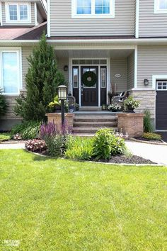 How to camouflage a lamp post in the front yard! See the plants and flowers that will help blend a lamp post into the look of your home. Lawn And Landscape, House Landscape, Landscape Design, Garden Design, House Design, Farming, Agriculture, Inexpensive Landscaping, Front Yard Landscaping