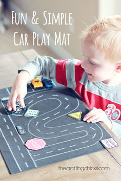 Fun & Simple Toy Car Play Mat We created these simple car mats for my 4 year olds playgroup. I am telling you.they were a hit! I mean hours of fun for these little boys. Such a simple and fun craft for Craft Projects For Kids, Crafts For Kids To Make, Fun Crafts, Craft Ideas, Baby Crafts, Diy Ideas, Diy Projects, Toddler Toys, Toddler Activities