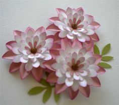 Set of (3) Paper Flowers. Shaded Daisy. - Spring -