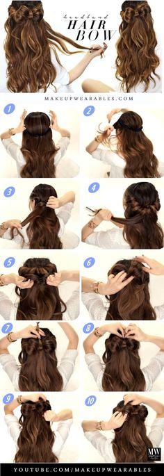 Headband Hair Bow Bun | Cute Half-Up Long Hairstyles