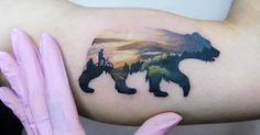 Tattoo Artist: Andrea Morales. Tags: categories, Illustrative, Animals, Bears, Other, Experimental, Double Exposure. Body parts: Inner Arm.