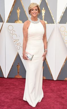 Oscars 2016: Joy Mangano attends the awards ceremony in a white gown designed by Christian Siniano